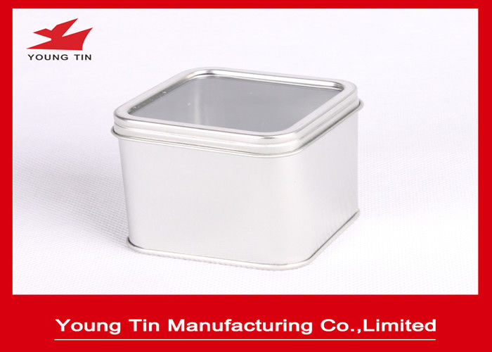 Plain Color Small Empty Square Metal Tins CMYK Offset Printed With Clear Window On Top