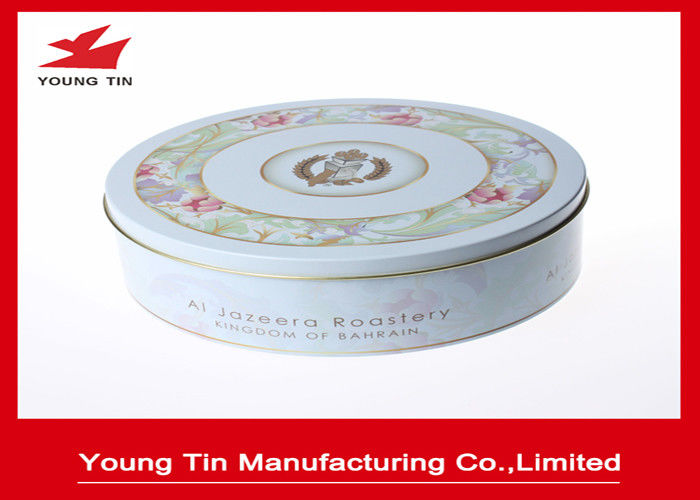 Empty Round Cookie Gift Tins Container Full Color Printed For Biscuit Packaging