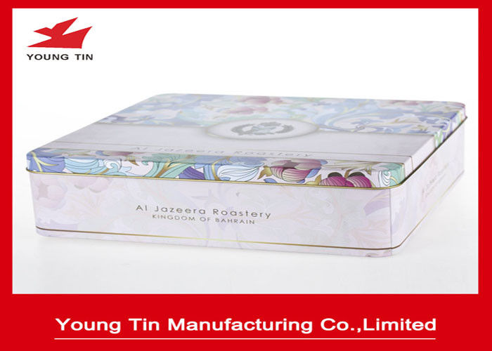 Square Metal Cookie Gift Tins Container Box With Full Color Printing Shiny Finish